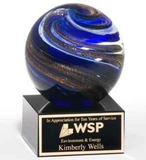 2123 Globe Art Glass Award, Glass sphere with blue & gold colors throughout mounted on a black glass base