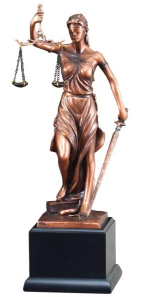 "Bronze lady justice statue with scales & sword mounted on black base, RFB263 is 4"" x 13.5"" in size, weighs 3 lbs."