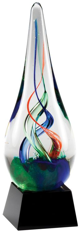 "Glass raindrop with red, blue & green colors swirled inside, GLSC12 is 8.25"" tall, weighs 3 lbs."