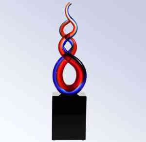 G1607 Patriotic Double Helix Glass Art