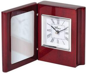 Rosewood & Silver Book Clock RWS27
