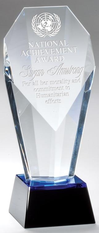 CRY635 Blue Slant Crystal Trophy