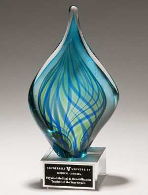 Blue & Green Twist Art Glass Award 2274, Twisted glass piece with blue & green colors mounted on a glass base