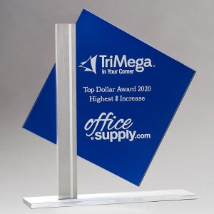 "Blue glass square for personalization mounted to silver metal post & base, G3010, 8"" tall"