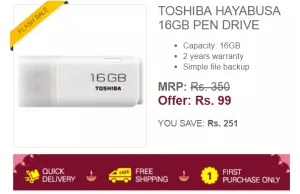 ebay flash festival toshiba pendrive loot at 99rs hiva26