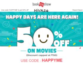 bookmyshow happy days 50% off offer hiva26