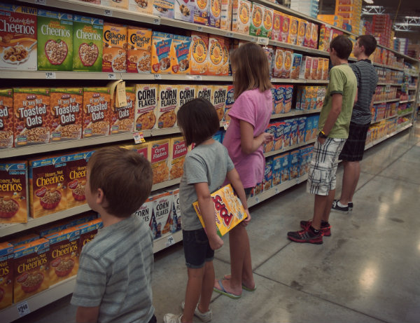 Kids in cereal aisle