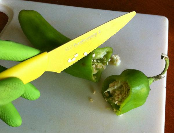 Cutting a pepper top