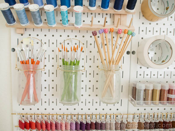 Frosted jars paint brushes