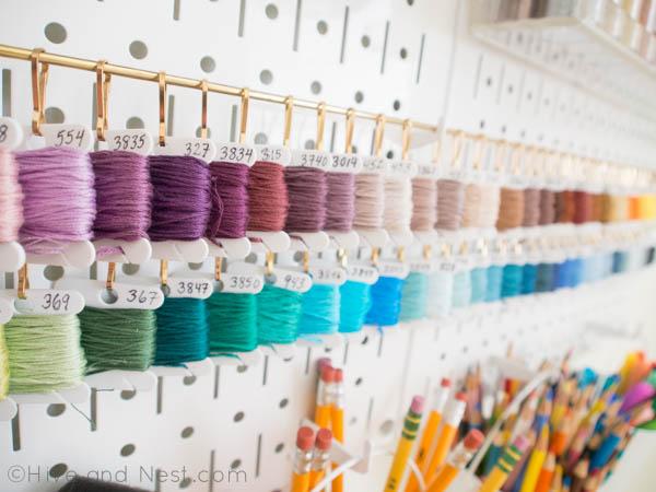 organized embroidery thread