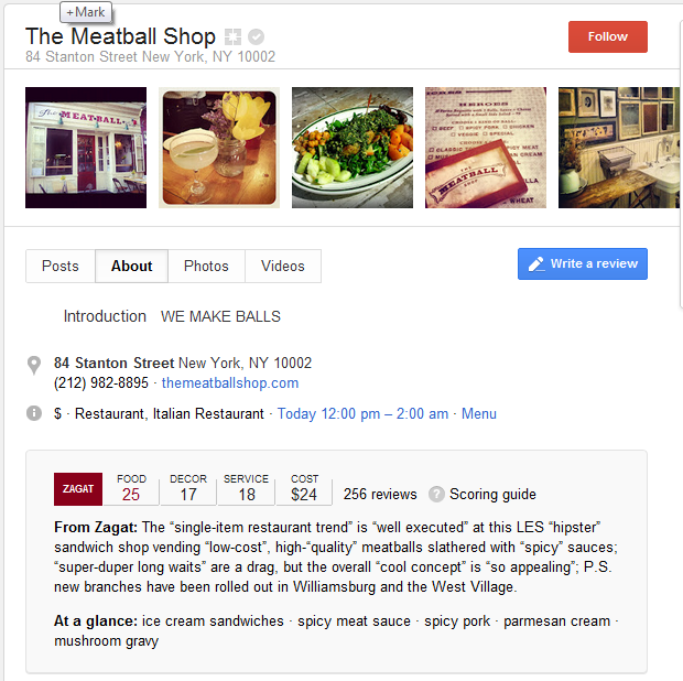 Google Plus Local Business Page Example