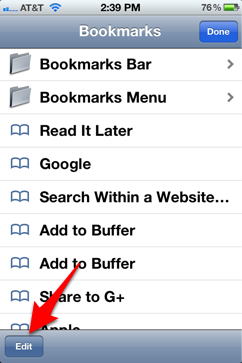 Safari for iPhone bookmarks button