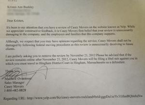Casey Movers threaten libel lawsuit