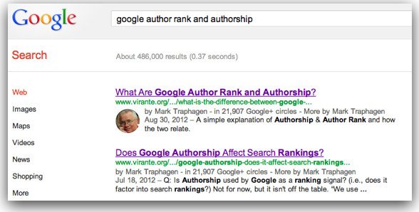 Google Authorship rich snippet search result