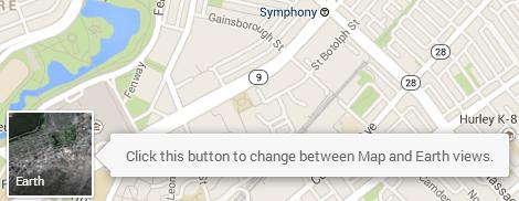 New Google Maps Google Earth Button