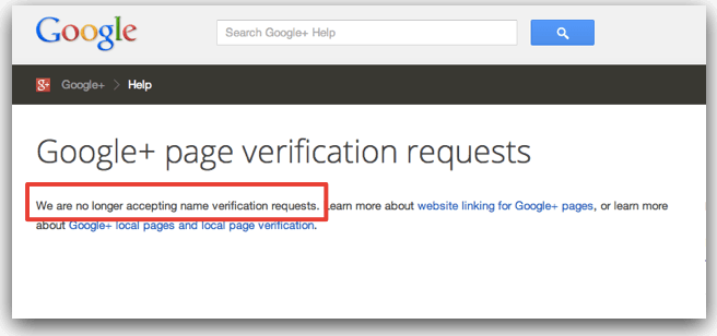 Google Plus Page verification request form