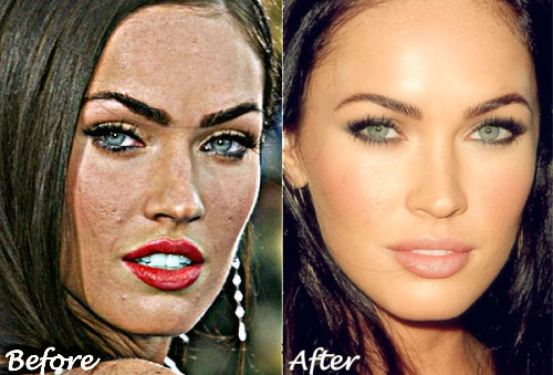Megan Fox before and after photoshop removing acne