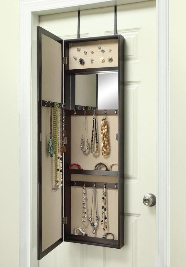 Over Door Jewelry Armoire With Mirror Dark Walnut Hives And Honey