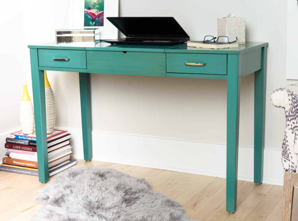 Ainsley Vanity Desk  Turquoise  Hives and Honey