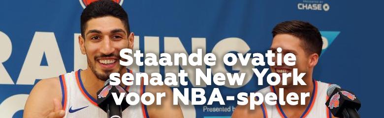 Staande ovatie voor Enes Kanter (NBA en Hizmet) van senaat New York