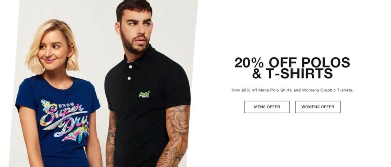 Superdry 20% off polos and tees