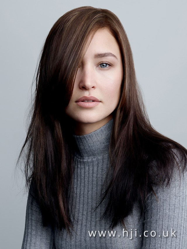 2017 long straight brunette hairstyle