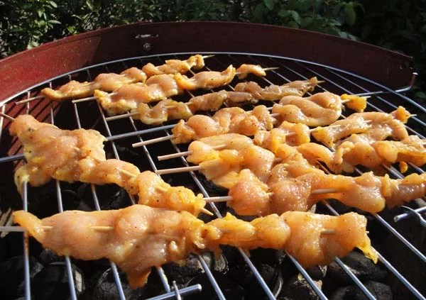 Hähnchen-Spieße mit Curry gegrillt