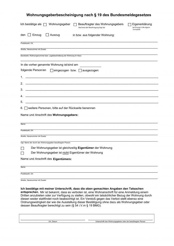 Formular Wohnungsgeberbescheinigung / Wohnungsgeberbestätigung für das Einwohnermeldeamt