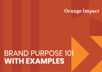 Red graphic header reading brand purpose 101 with examples