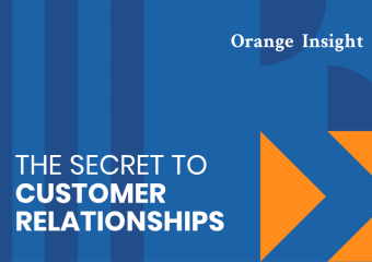 HKLM Branding blue and orange graphic header reading 'The secret to customer relationships'