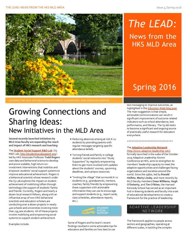 Front page of the Spring 2016 MLD AREA Newsletter