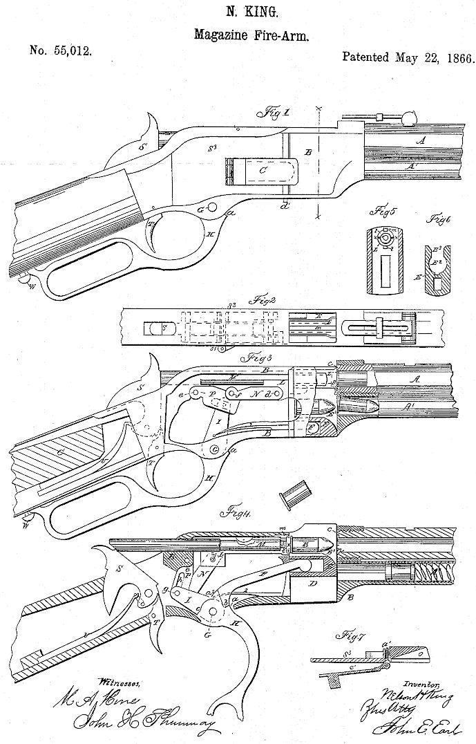 Winchester Model 1866 US Patent no. 55,012 & 57,808