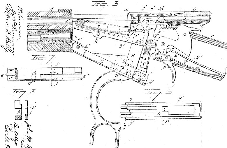 Winchester Model 1894 US Patent no. 524,702 drawings and