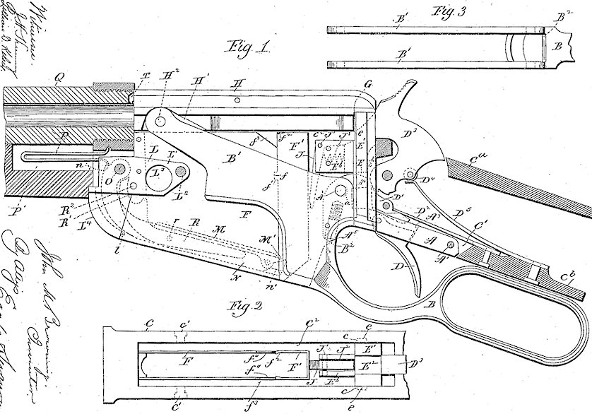 Winchester Model 1895 US Patent no. 549,345 drawings and