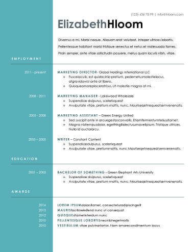 Contemporary Resume Templates