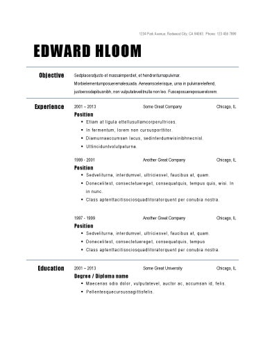 Basic Job Resume Template 30 Basic Resume Templates Basic Job