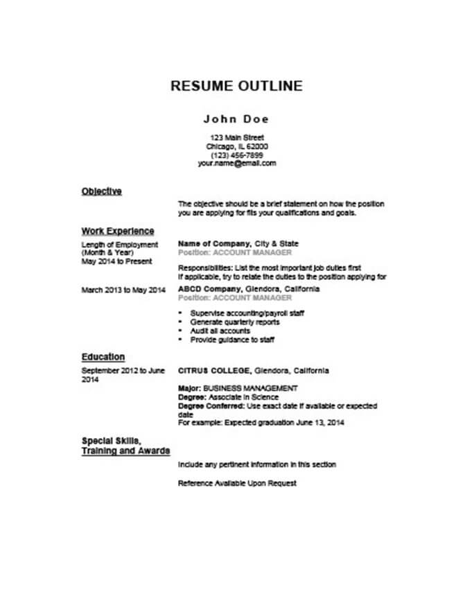 resume outlines for jobs