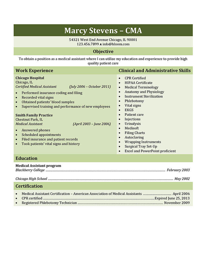 Medical Assistant Resume Format 16 Free Medical Assistant Resume