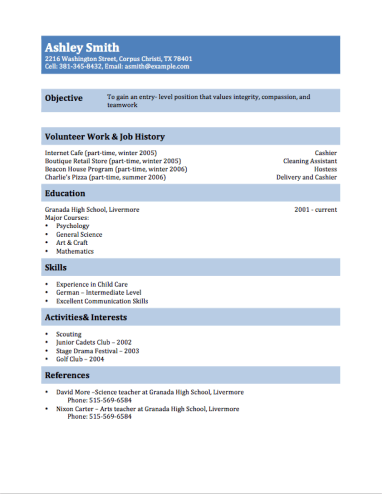 Resume Examples Teenager Examples of Resumes