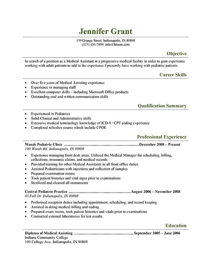 functional resume examples medical field