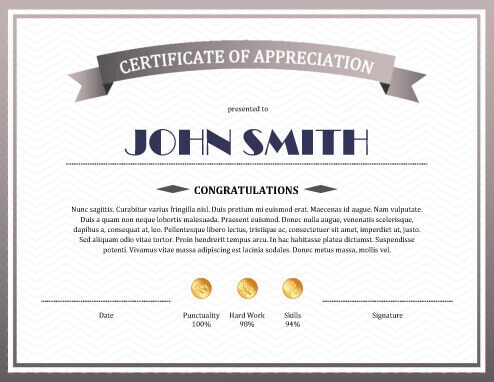 Example of certificate of appreciation free download yelopaper Gallery