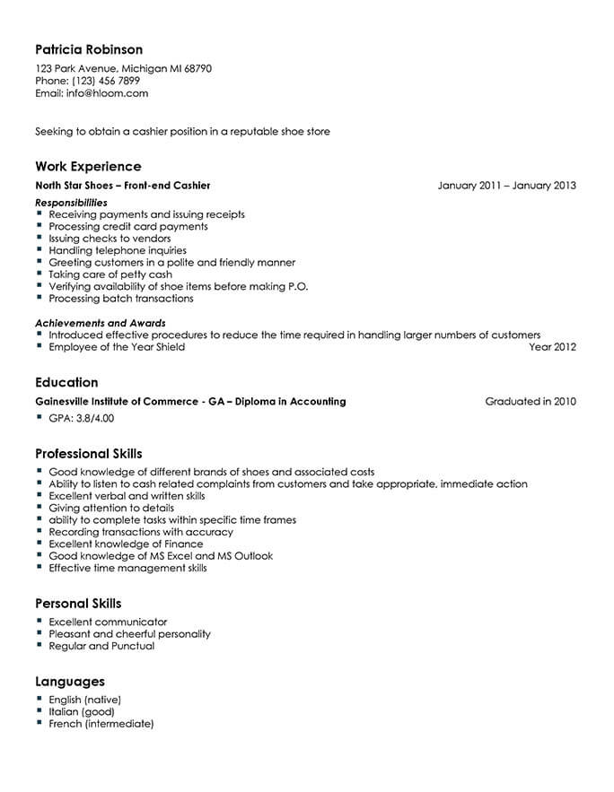 gas station cashier sample resume