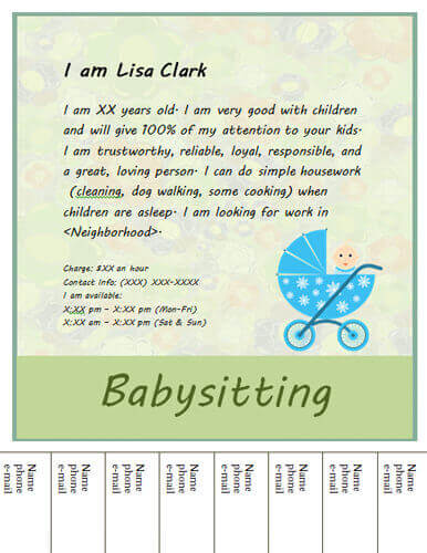what to write on a babysitting flyer