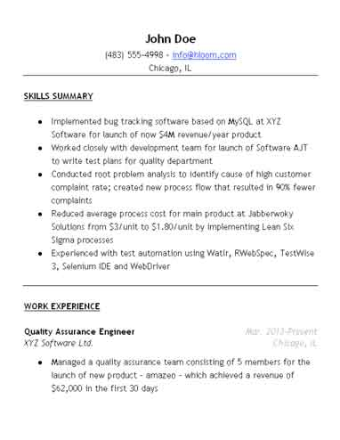 Qa Resume Unforgettable Quality Assurance Resume Examples To