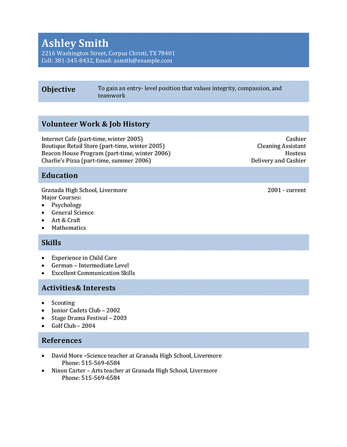 sample resume for 15 year old with no experience