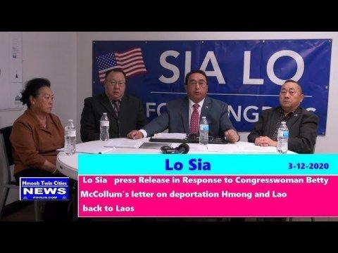 Lo Sia Response to Congresswoman Betty  McCollum's letter Deportation Hmong/Lao Back to Laos