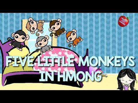 Hmong Kids Channel Five Little Monkeys In Hmong