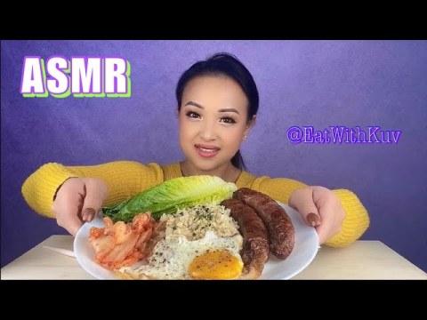 ASMR hmong sausages and cauliflower rice ~ Mukbang