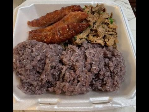 Hmong Traditional Dish - Purple Sticky Rice, Hmong Sausage & Laab