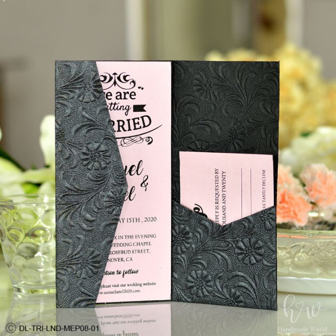 Inwrought Flower Bunch Shimmer Embossed Paper Pocketfold Wedding Invitations Dl Tri Lnd08